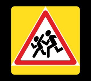 Знак 1.23 Дети с желтой окантовкой