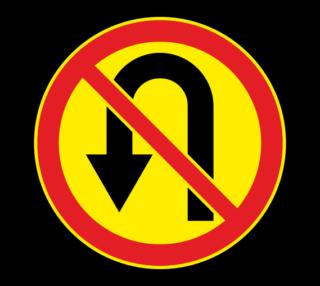 Знак 3.19 Разворот запрещен (Временный)