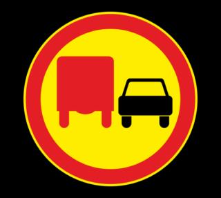 Знак 3.22 Обгон грузовым автомобилям запрещен (Временный)