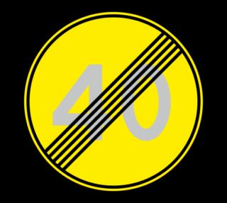 Знак 3.25 Конец ограничения максимальной скорости (Временный)