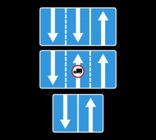 Знак 5.15.7 Направления движения по полосам
